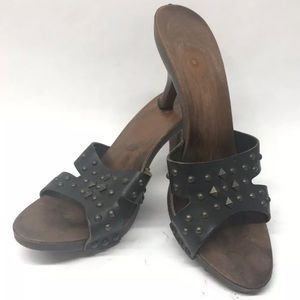 Sam & Libby Shoes - Sam & Libby Black Leather Studded Sandals Size 9.5